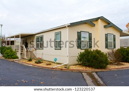 A new manufactured home at a retirement trailer park. - stock photo