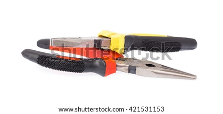 A new pairs of needle-nose pliers isolated on a white background. - stock photo