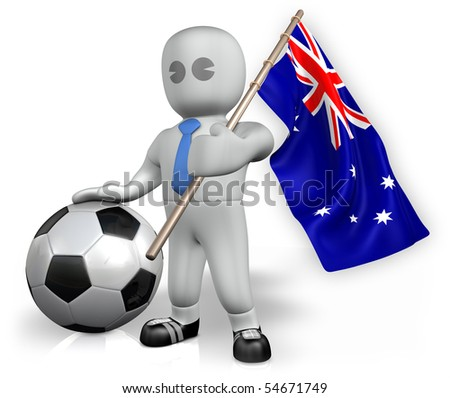 A New Zealand football fan with a ball and a flag - stock photo