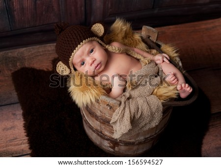 A newborn baby boy looking at the camera. He is wearing a crocheted monkey hat and lying in an antique wooden well bucket. Shot in the studio with a sheepskin rug and rustic wood background.  - stock photo