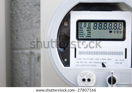 A newly installed digital power meter. - stock photo