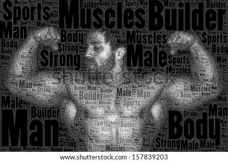 A nice body builder picture made of words - stock photo