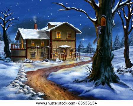 A nice cottage in a wonderful christmas landscape. Hand painted illustration. - stock photo