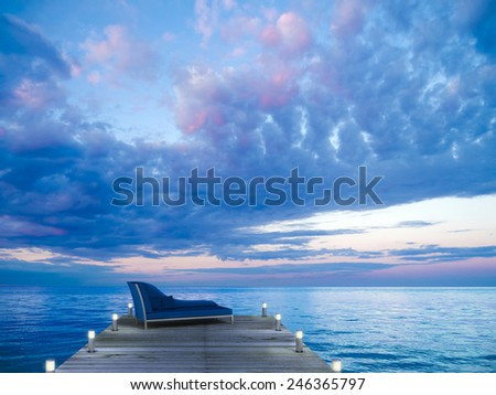 a nice place to enjoy the seaside sunset - stock photo
