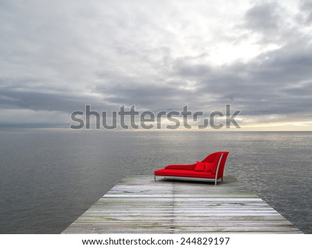 a nice place with recamier to enjoy the sea - stock photo