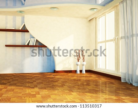 a nice room with a big window, the vases, shelves, rendering - stock photo