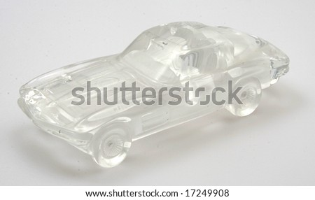 A nice view of a crystal replica of a Corvette - stock photo
