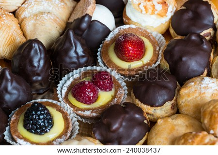 A nice view of typical italian pastries. - stock photo
