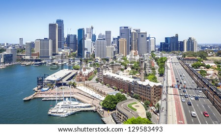 A nice view to the city of Sydney from the Harbor Bridge - stock photo