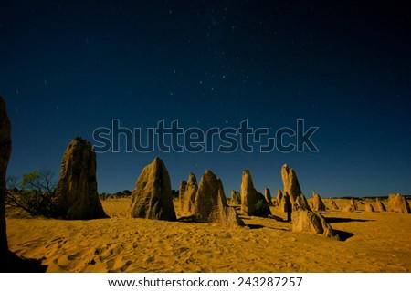 A night scene in the Pinnacle desert, Western Australia. - stock photo