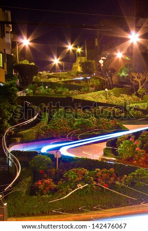 A night view of the Lombard Street in San Francisco. - stock photo