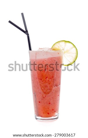 A non-alcoholic cocktail named strawberry dream made of strawberry and pineapple juice with coconut mash. - stock photo