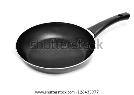 a nonstick frying pan on a white background - stock photo