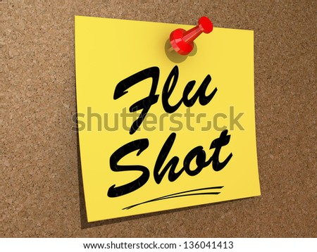A note pinned to a cork board with the text Flu Shot. - stock photo
