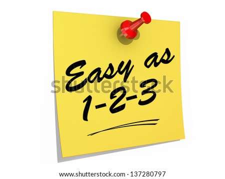 A note pinned to a white background with the text Easy As 123. - stock photo