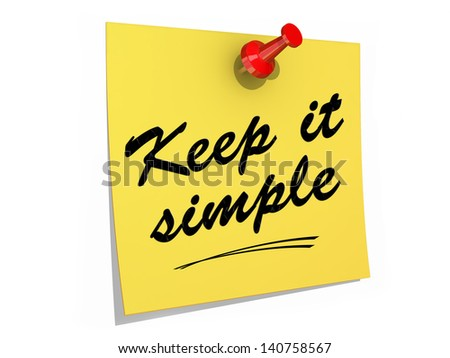 A note pinned to a white background with the text Keep It Simple. - stock photo