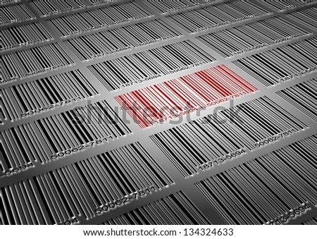 A number of black barcodes and a red barcode amongst them / Barcode sale - stock photo