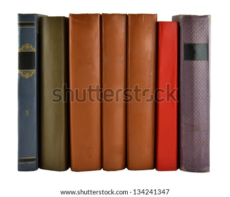 a number of book covers, isolated on white background - stock photo