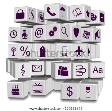 A number of white 3d cubes with application icons / Apps in cubes - stock photo