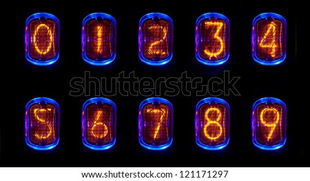 a numerical counter and number sequence using an old nixie tube clock - stock photo