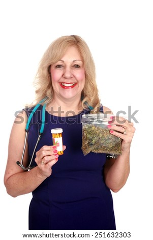 A nurse or doctor or Medical Marijuana Doctor mature woman enjoys the benefits of Medical Marijuana. isolated on white with room for your text - stock photo