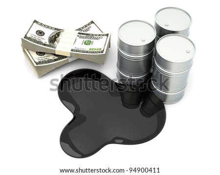 A oil barrell with Dollar notes. 3D rendered Illustration. Isolated on white. - stock photo