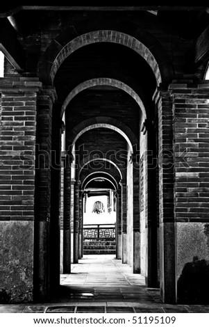 a old corridor - stock photo