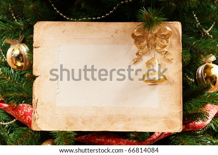 a old paper on x-mas tree as a background or texture - stock photo