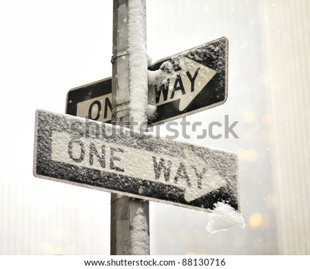 A one way sign in snow - Manhattan - stock photo