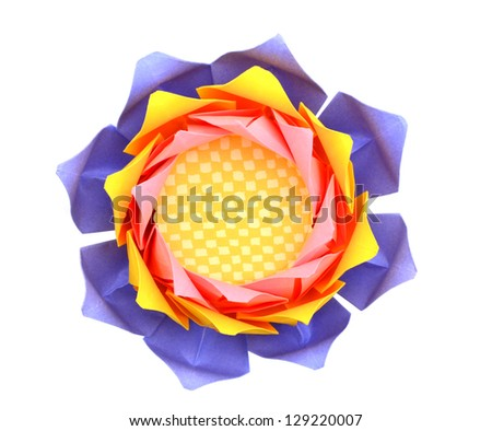 A origami lotus isolated white - stock photo