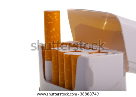 A packet of cigarettes in close-up on a white background - stock photo