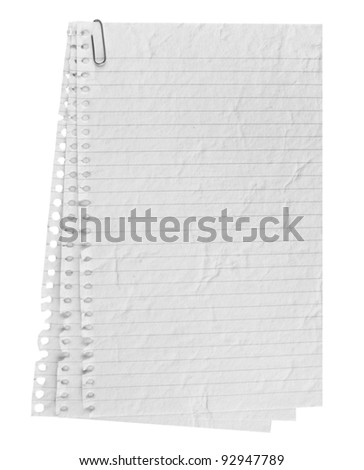 A page ripped off from the notebook. - stock photo