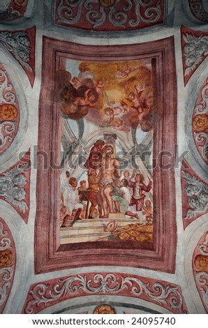 A painting in a chapel - Castle Bled, Slovenia - stock photo