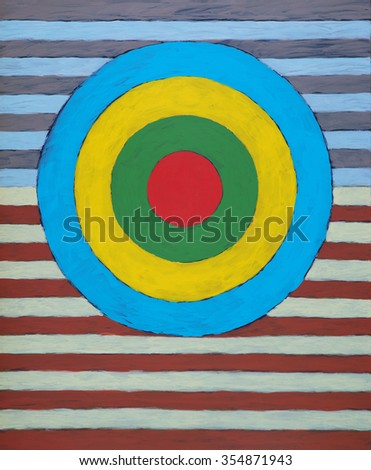 a painting of a target on a striped background - stock photo