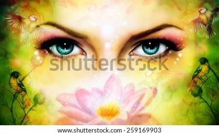 A pair of beautiful blue women eyes beaming up enchanting from behind a blooming rose lotus flower, with bird on yellow and green abstract background.illustration portrait - stock photo