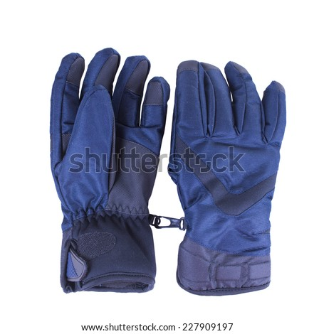 A pair of blue warm waterproof gloves. Isolated on white background - stock photo