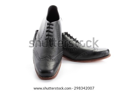 A pair of businessman shoes, isolated on white background - stock photo