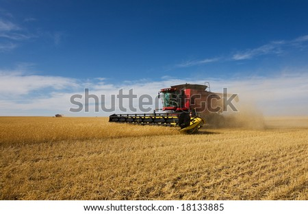 A pair of combine harvesters working on a wheat crop - stock photo