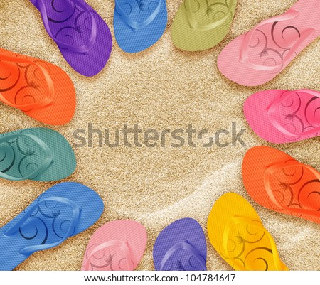 a pair of flip flops on the beach sand, Summer back concept. - stock photo