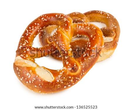 a pair of german pretzels - stock photo