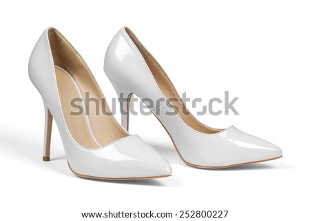A pair of gray high hell shoes isolated  - stock photo