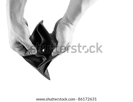 A pair of hand opening an empty leather wallet in monochrome, for the concept of going broke. - stock photo