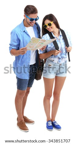 A pair of happy tourists sightseeing in summer, isolated on white - stock photo