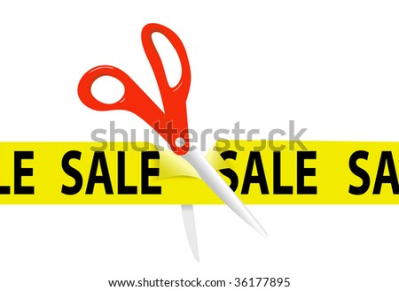 A pair of orange scissors cut a bright yellow SALE SALE SALE ribbon tape for retail store or website event. - stock photo