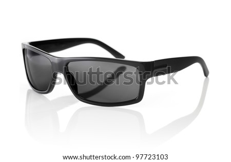 A Pair of quality Sunglasses on white with natural reflection. - stock photo