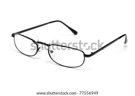 A pair of sleek reading glasses isolated on a white background. - stock photo