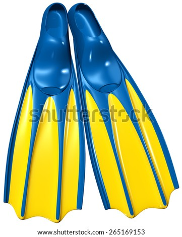 a pair of swim fins or flippers with blue rubber and yellow plastic for deep-sea diving and relaxing on the sea, on a white background - stock photo