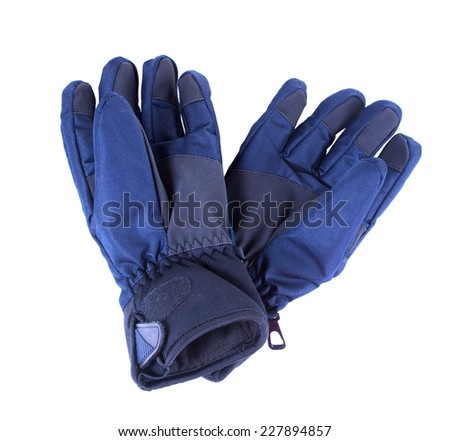 A pair of waterproof gloves. Isolated on white background - stock photo