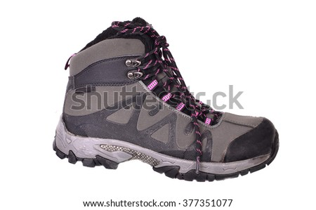 A pair of winter  hiking boots. Isolated on white