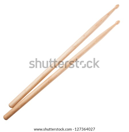 A pair of wooden drumsticks isolated on a white background - stock photo